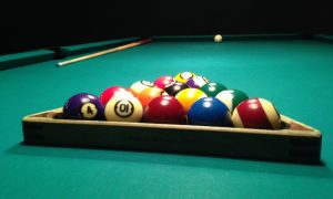playing billiards